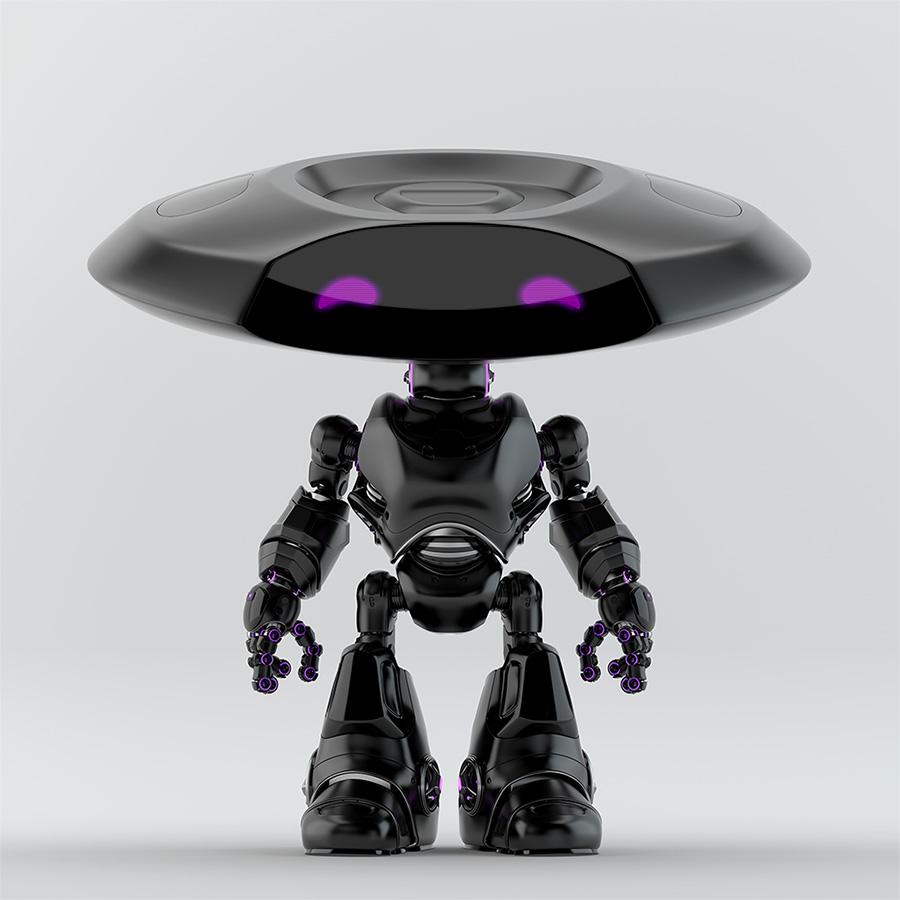 Matte black robotic ufo with extravagant violet digital eyes