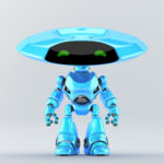Bright blue robotic ufo with friendly green digital eyes