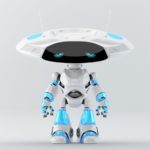 White-blue robotic ufo with sad digital eyes