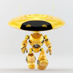 Walking springy orange ufo robot with flat round head and antennaes