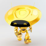 Walking springy orange ufo robot with flat round head and antenna's