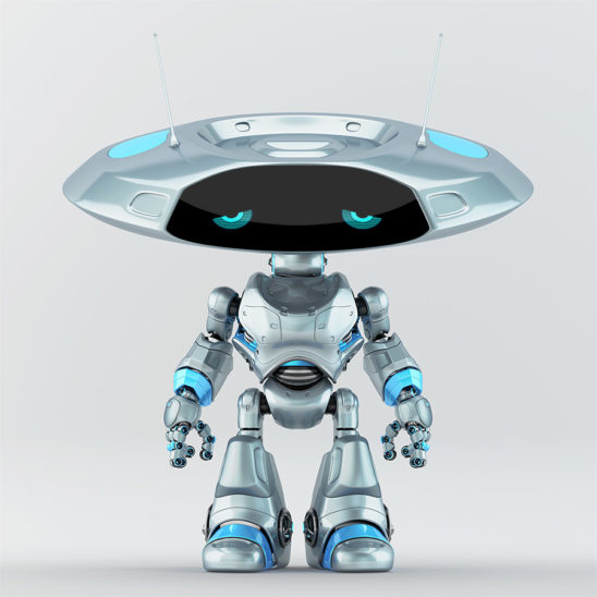 Grey with blue elements ufo robot with flat head and sad digital eyes