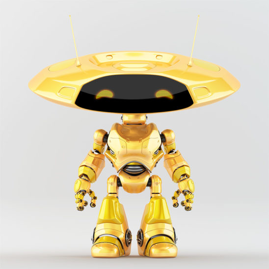 Orange ufo robot with flat round head and antenna's