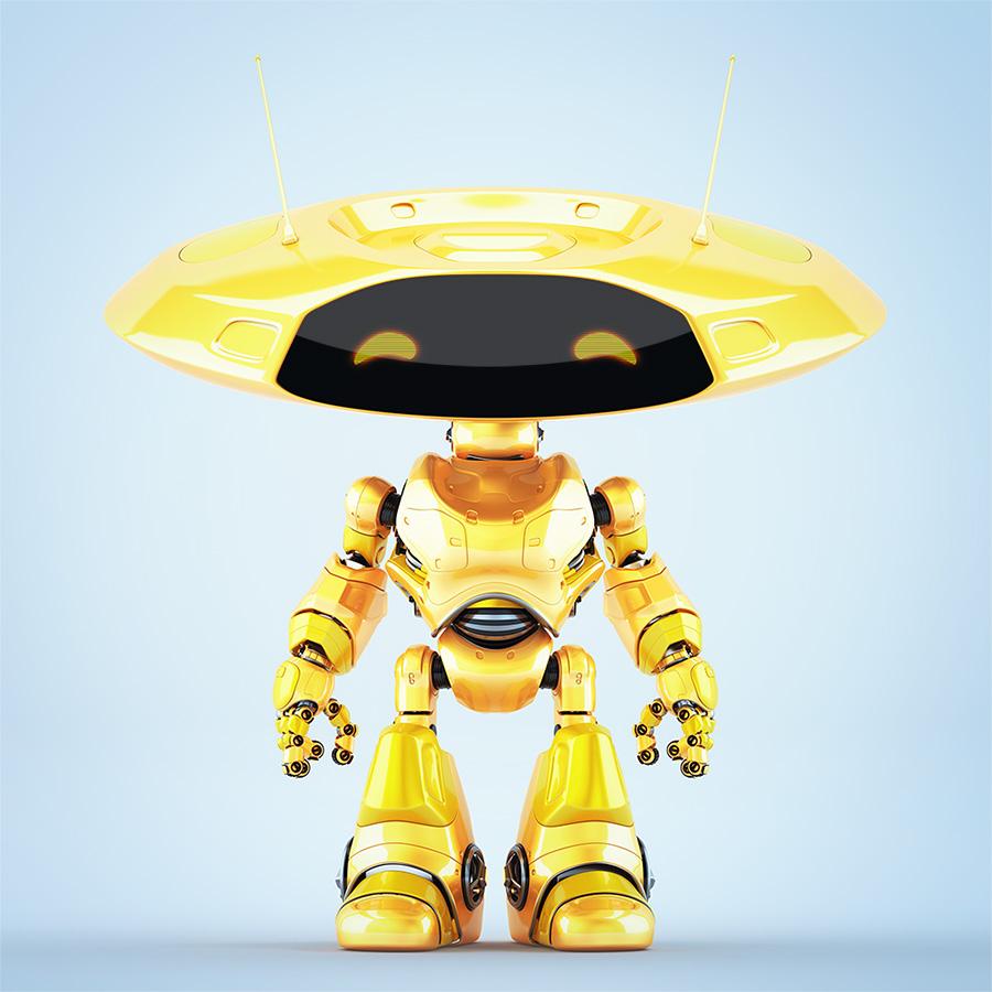 Orange ufo robot with flat round head and antenna's