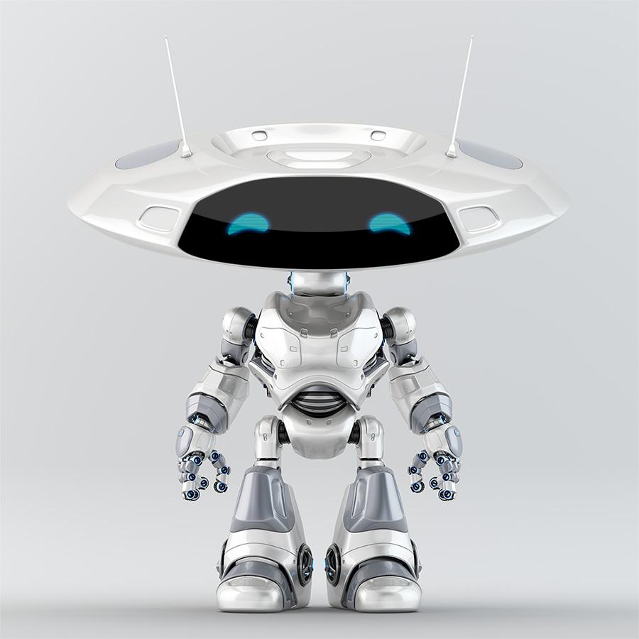 White-grey robot ufo