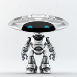 Steel robot ufo with flat head and two antennaes for remote controll