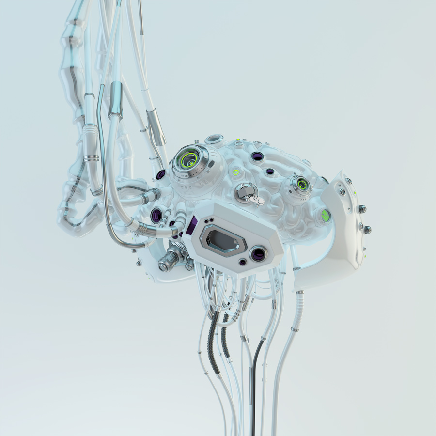 Wired white robotic eternal organ - brain in side render