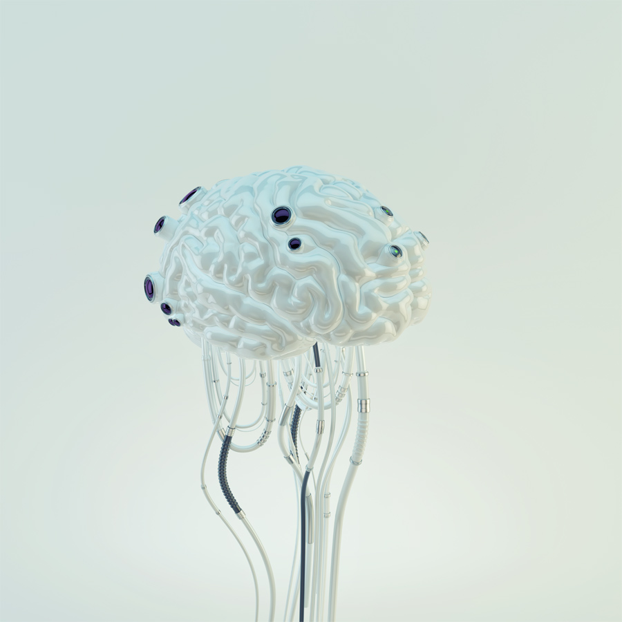 White artificial futuristic organ, replacement part - brain