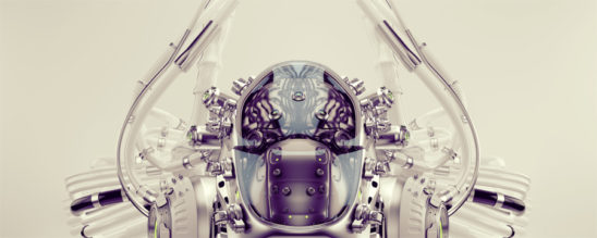 Robotic brain in cyborg head upper view