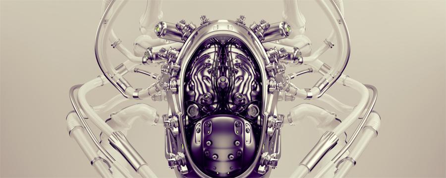 Robotic brain in cyborg head upper view