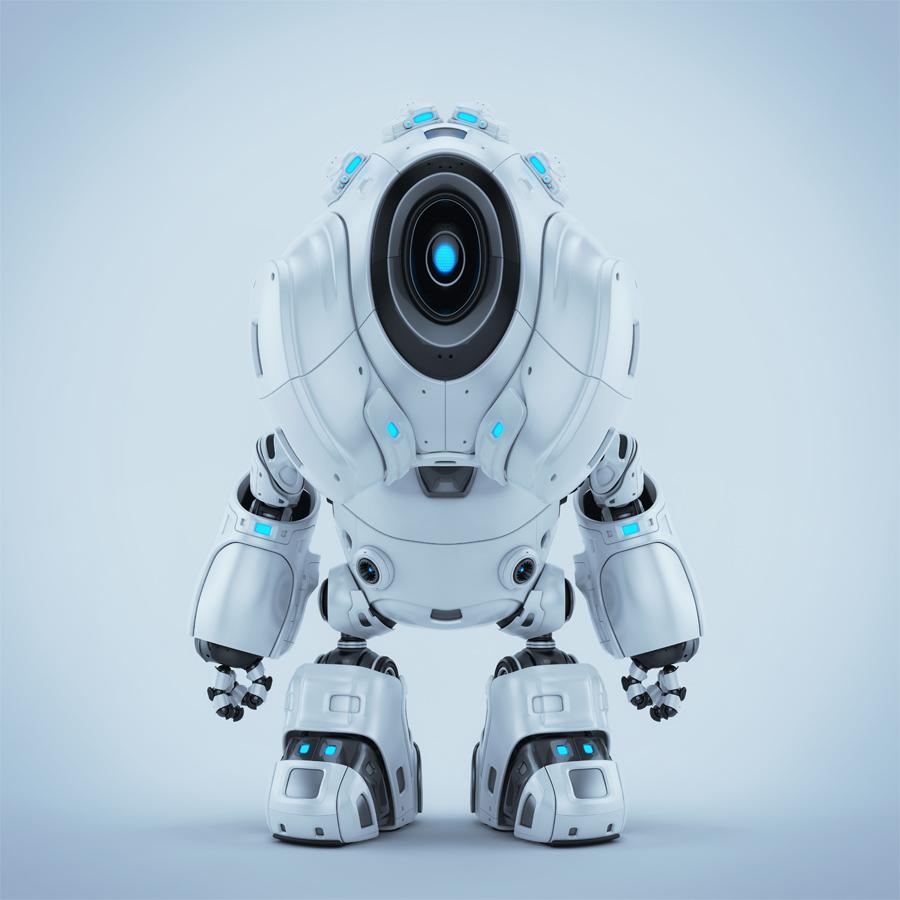 White alien robot with big hood head