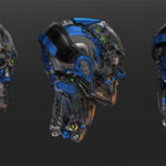 Three detailed robotic heads without mask