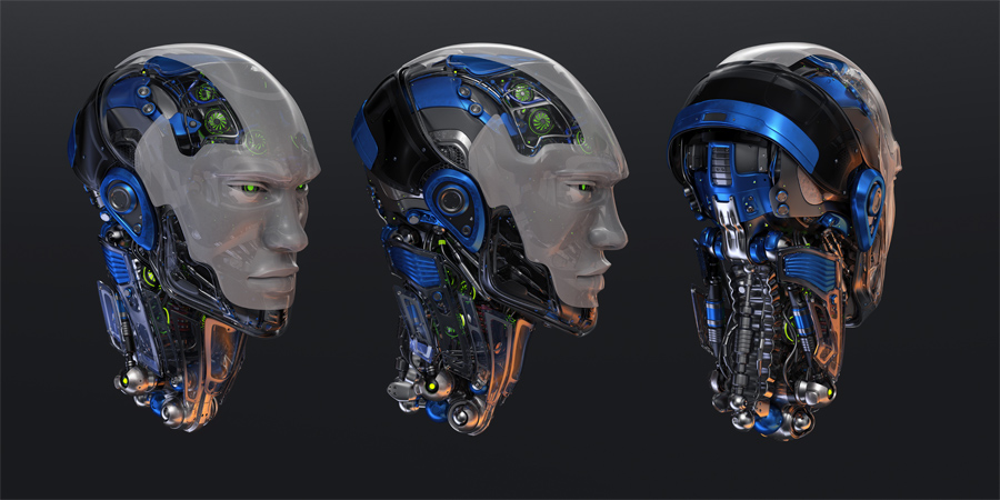 Three detailed robotic heads with and without mask