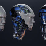 Three detailed robotic heads in different angles