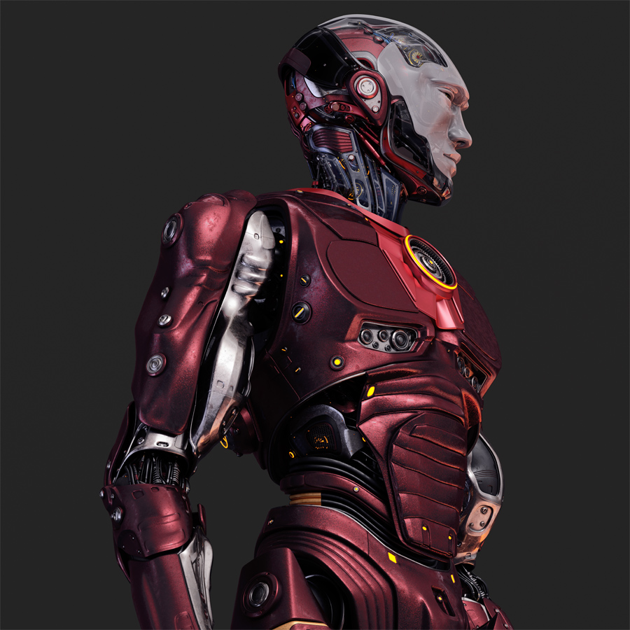 Athletic robot in red with white semi-transparent facial mask
