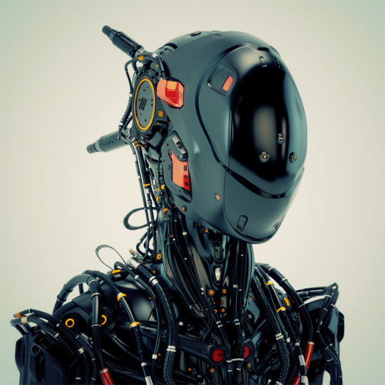 Black robot pilot with red elements and multiple cables