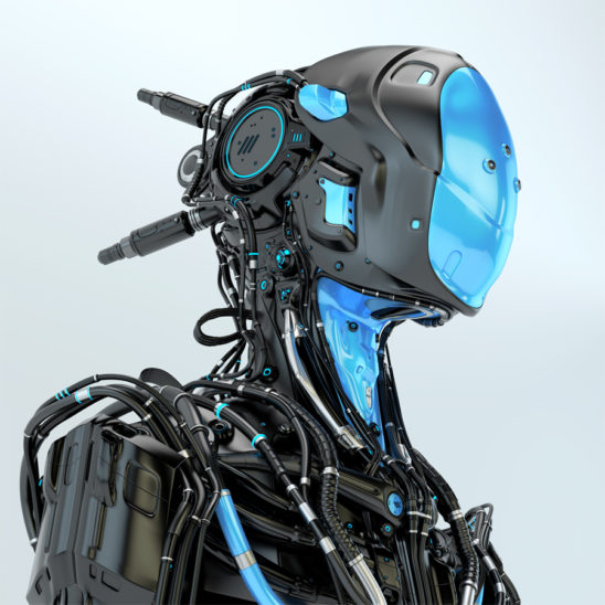 Black robotic soldier pilot with blue elements
