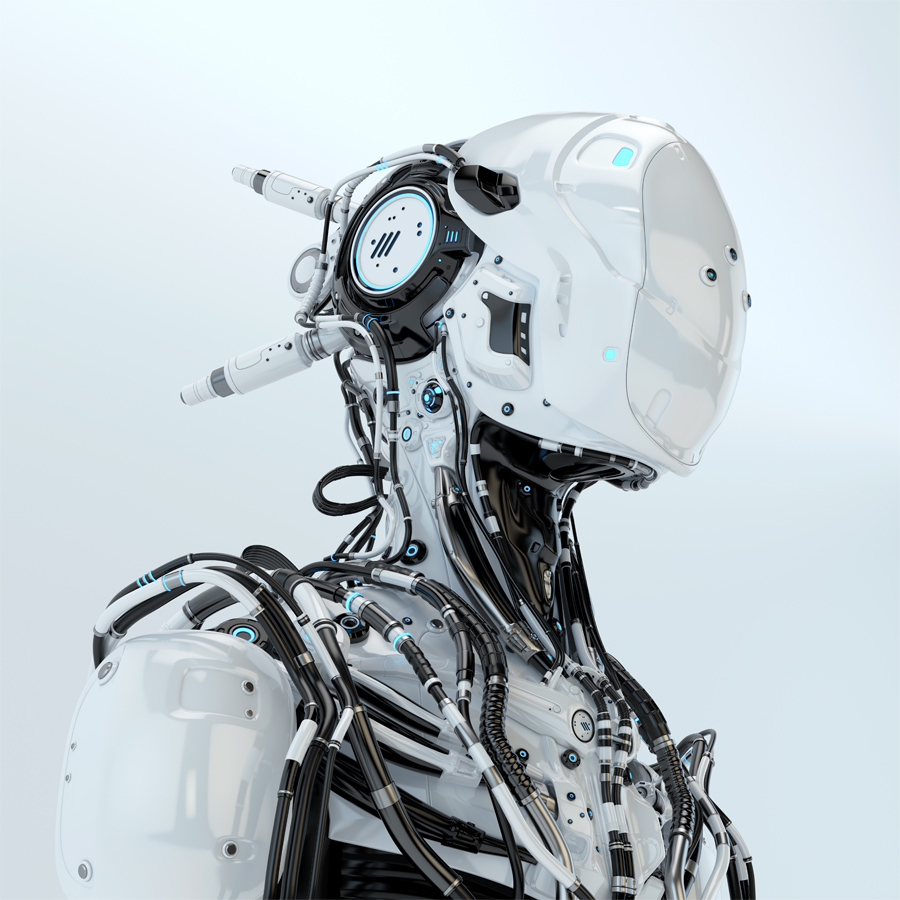 Futuristic robotic wired pilot in white. 3d render