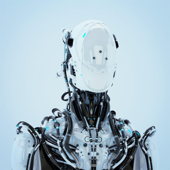Futuristic robotic wired pilot in white. Front angel, 3d render