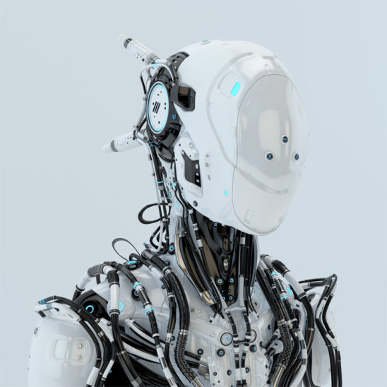 Futuristic robotic wired pilot in white. Side angle, 3d render