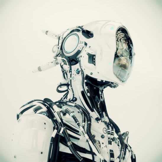 Futuristic robotic wired pilot with visible steel brain inside Side angle, 3d render