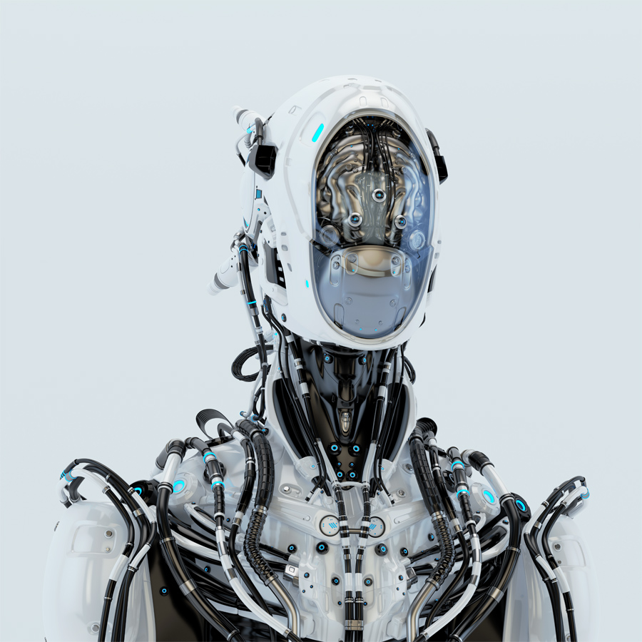 Futuristic robotic wired pilot with visible steel brain inside Front angle, 3d render