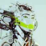 Modern robot geisha in side render with bright green bar