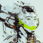 Futuristic robotic geisha queen in profile render with bright green bar