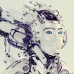 Beautiful majestic geisha robot with stylish wired hairstyle