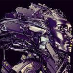 Steel robotic geisha in profile on black background