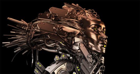 Steel robotic geisha on black background with gradient filter