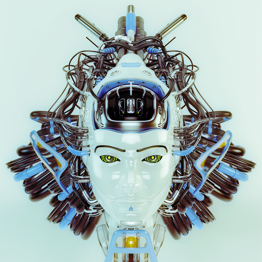 Geisha robot with blue and grey wires II • Buyourobot