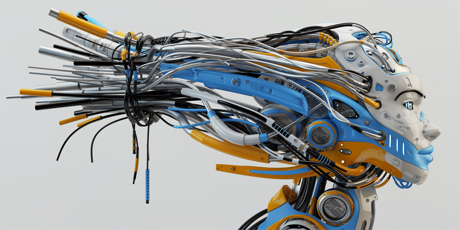 Fashionable robot geisha with bright blue and orange parts, wires