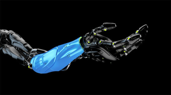 Black with blue part futuristic arm, type of bionic arm with similar functions to a human arm