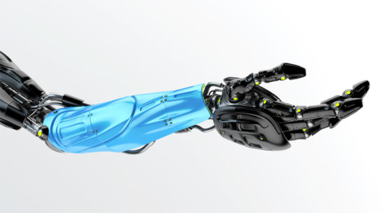 Black with blue part futuristic arm on light background, type of bionic arm with similar functions to a human arm