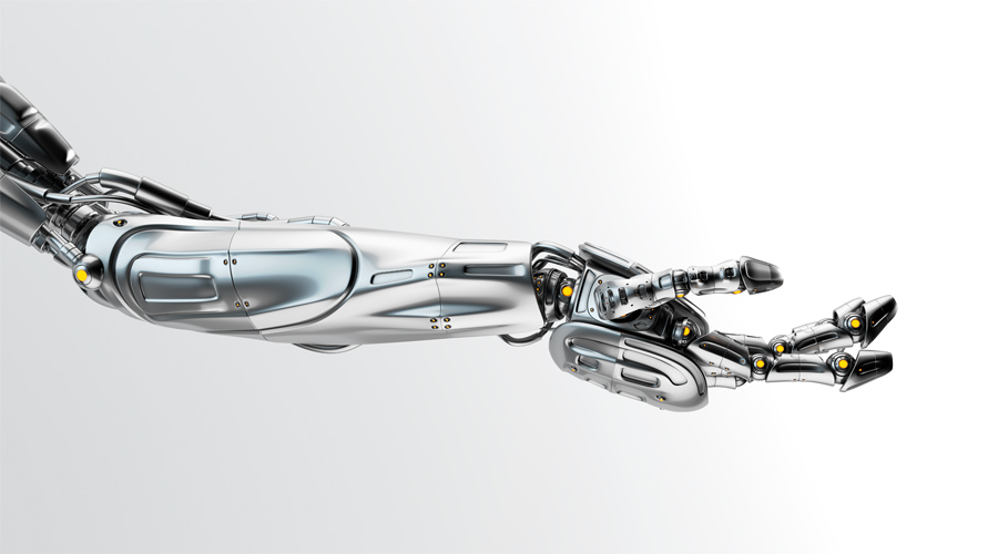 Steel robotic arm stretched