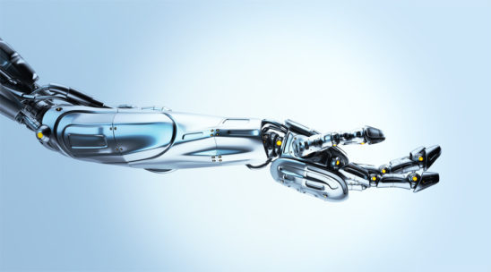 Artificial steel futuristic robotic arm with asking gesture