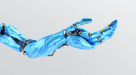 Blue prosthetic robo arm