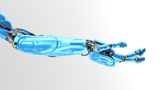 Blue futuristic arm, type of bionic arm with similar functions to a human arm