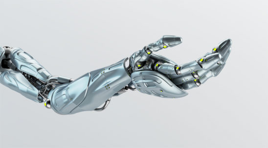 Steel futuristic arm, type of bionic arm with similar functions to a human arm