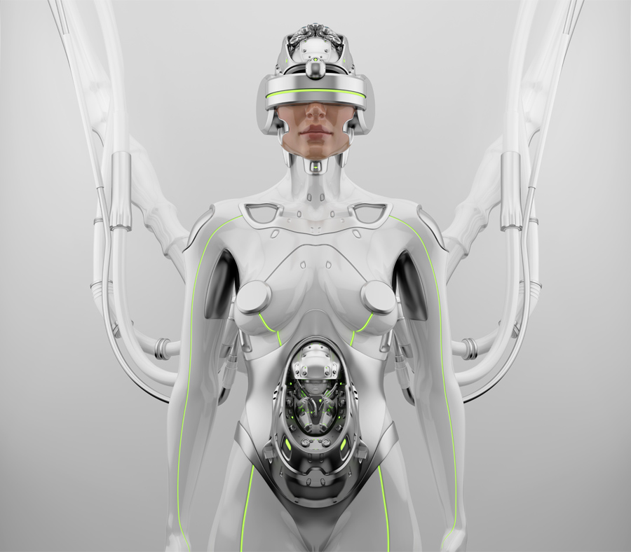 Pregnant robotic woman in VR helmet