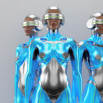 Blue and silver robot woman trio with real face