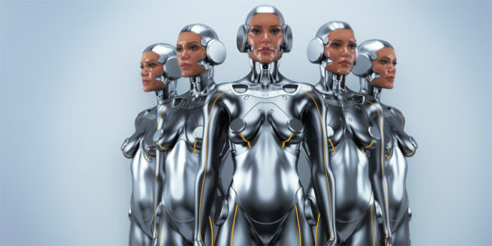 Silver robot woman quintet with real face