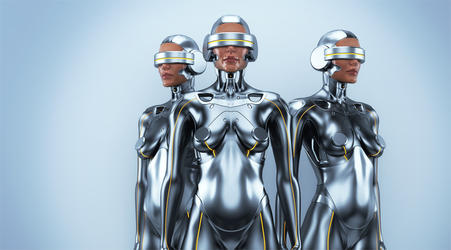 Silver robot woman trio with real face and virtual reality glasses