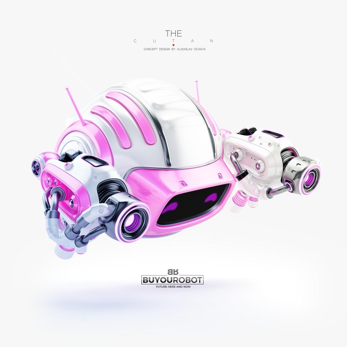 Cute robotic aerial toy with futuristic blaster gun - CUTAN
