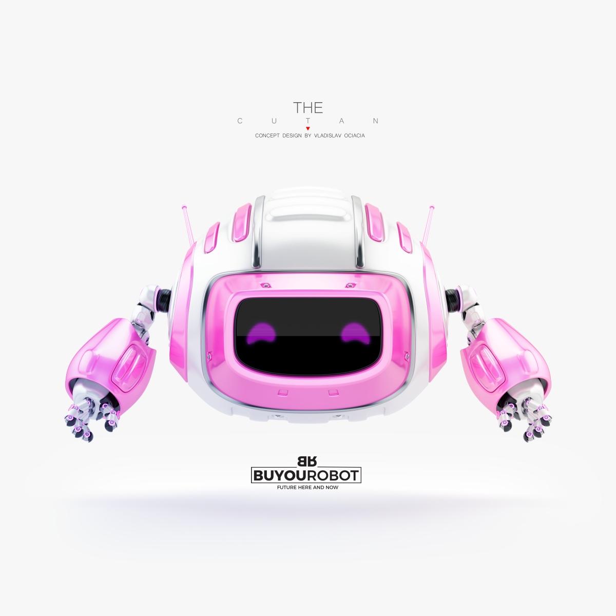 Smart robot aerial toy in pink girlish color 3d model