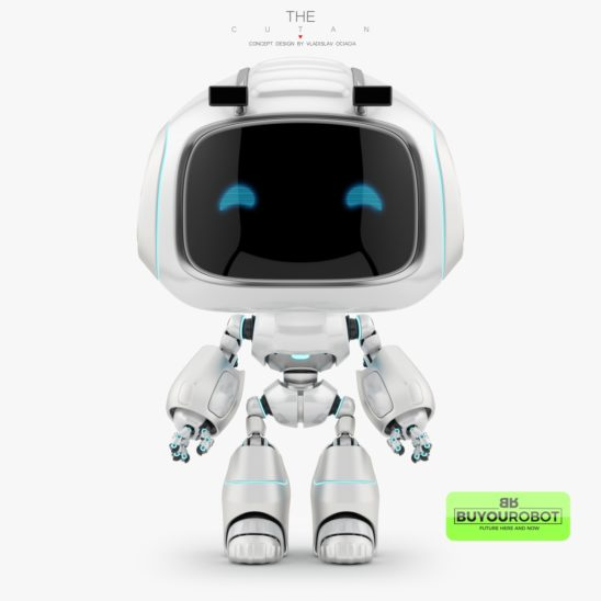 Futuristic robot toy CUTAN with big head 3d model