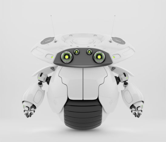 Roller bot character on one big wheel. 3d render