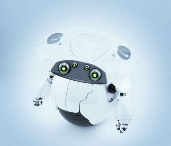 Cute roller robot in upper view. 3d render