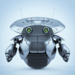 Futuristic grey roller robotic toy on one big wheel and two funny antennaes. 3d render